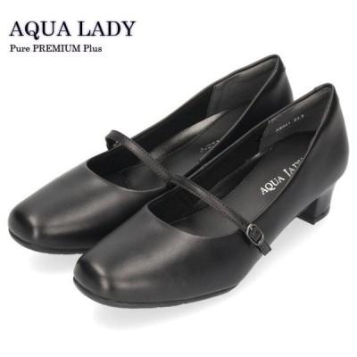 フォーマル 黒 パンプス 本革 幅広 4E ワイズ ストラップ ブラック ビジネスパンプス オフィス ヒール 8041 レディース 3.8cm アクアレディ AQUA LADY