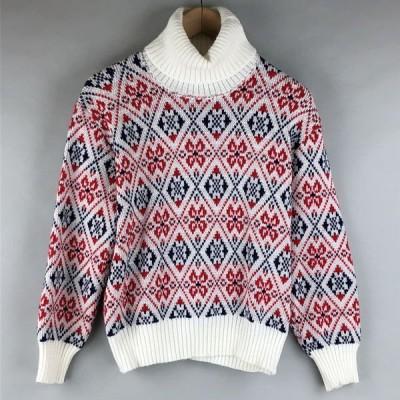 【古着】 総柄セーター made in ITALY タートルネック 長袖 ホワイト系 レディースL 【中古】 n009384