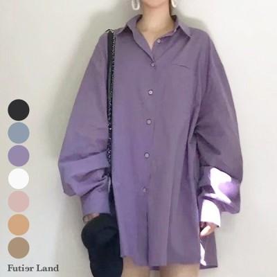 シャツ BIGサイズ ワイドシャツ トップス ピンク パープル ブルー 彼シャツ ゆったり 韓国 ファッション ワイドBIGシャツ