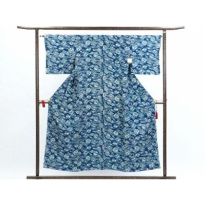 【中古】リサイクル小紋 / 正絹ブルー地袷小紋着物 / レディース(古着 中古 小紋 リサイクル品)