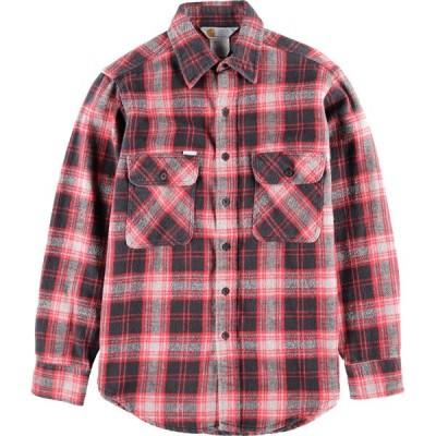90年代 カーハート 長袖 ヘビーネルシャツ USA製 M /wca003631