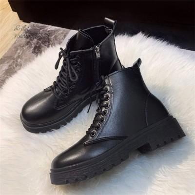 レディース ショートブーツ 革靴 編み上げブーツ 太めヒール 女子靴 オシャレ ブーティー