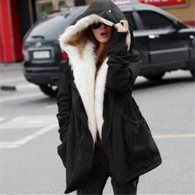 中綿入りコートミリタリーコートモッズコートフード付きフェイクファーレディースアウター防寒秋冬カジュアル