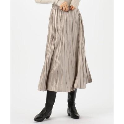 スカート レザーライクサテンプリーツ ミディスカート