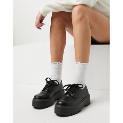 エイソス ASOS DESIGN レディース スリッポン・フラット シューズ・靴 Asos Design Mine Chunky Flat Shoe In Black ブラック