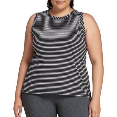 カリア シャツ トップス レディース CALIA by Carrie Underwood Women's Plus Size Striped Everyday Muscle Tank Top PureBlack/PureWhiteStr