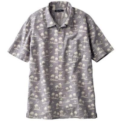 リゾート柄プリントの開襟シャツ(半袖) サラリとした綿100%ツイル素材/グレー系/L