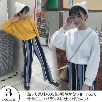 トップスブラウスショート長袖レディースクルーネック襟ドルマンスリーブリブ編みビッグニットざっくり編みゆったり大きいサイズ春
