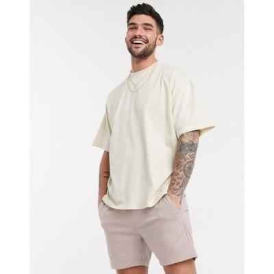 エイソス メンズ シャツ トップス ASOS DESIGN oversized t-shirt with crew neck in beige