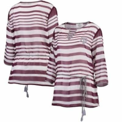 Emerson Street エマーソン ストリート シャツ Tシャツ Texas A&M Aggies Womens Maroon Sheer Stripe Tie Tunic