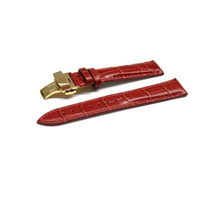 腕時計 ベルト 16mm 17mm 18mm 19mm 20mm 21mm 22mm 24mm レザー クロコダイル型押し 牛 革 赤 プッシュ式 Dバックル イエロー ゴールド l001re-pd-y
