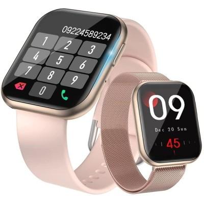 スマートウォッチ 2種ベルト付き Bluetooth通話機能搭載 活動量計 全画面タッチスクリーン カスタムダイヤル Line/Ins/Twitter