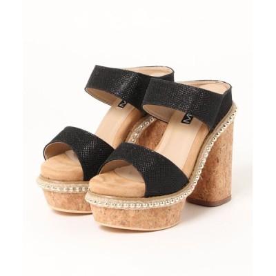 Parade ワシントン靴店 / 【厚底】ゴールドチェーン付きコルクヒールミュールサンダル 441 WOMEN シューズ > サンダル