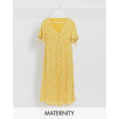 ママライシアス レディース ワンピース トップス Mamalicious Maternity tea dress with v neck and tie sleeves in yellow floral