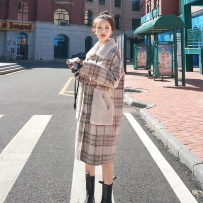 チェスターコート レディースグレンチェック SILKSDY32091  ロングコート アウターコート 大人秋冬コート防寒 チェック柄 大きいサイズ
