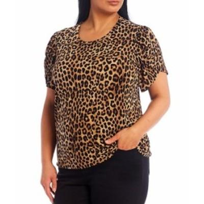 マイケルコース レディース Tシャツ トップス MICHAEL Michael Kors Plus Size Cheetah Print Lux Matte Jersey Tulip Sleeve Top Dark C