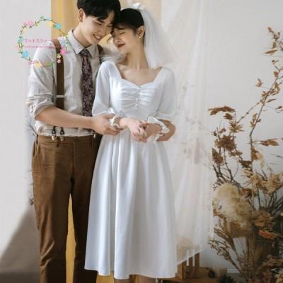 安い 白 ウェディングドレス二次会 フォーマルドレス 結婚式 ブライダル 演奏会 ロングドレス披露宴 花嫁 挙式 お呼ばれ 袖あり スレンダー 大きいサイズ 挙式