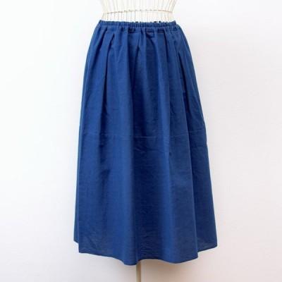 うなぎの寝床 久留米絣のスカート 無地 ブルー 洋服