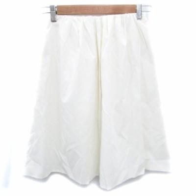【中古】未使用品 ボールジー トゥモローランド スカート フレア ギャザー ひざ丈 34 白 ホワイト /FF25 レディース