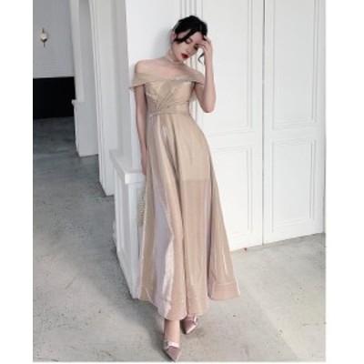 ロングドレス オフショルダー パーティードレス ウエディングドレス 大きいサイズ Aラインワンピース フォーマル 上品 マキシ丈  結婚式
