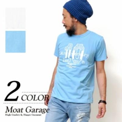 Tシャツ メンズ 半袖 | アメカジ 厚手 サーフ 日本製 ホワイト 白 サックス ブルー ロゴ 柄 おし