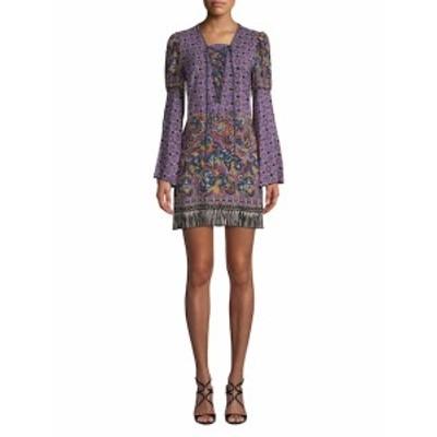 アナスイ レディース ワンピース Paisley Fringe Border Silk Dress