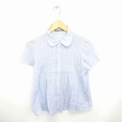 【中古】BLUE STRIVE シャツ ブラウス ストライプ ラウンドカラー 透け感 半袖 青 白 ブルー ホワイト /TT20