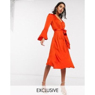 ゴースト レディース ワンピース トップス Ghost exclusive annabelle satin button front midi dress with flare sleeves