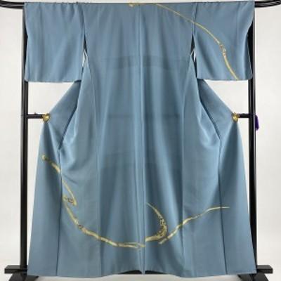 訪問着 秀品 一つ紋 幾何学模様 金彩 青灰色 袷 159.5cm 66.5cm M 正絹 中古