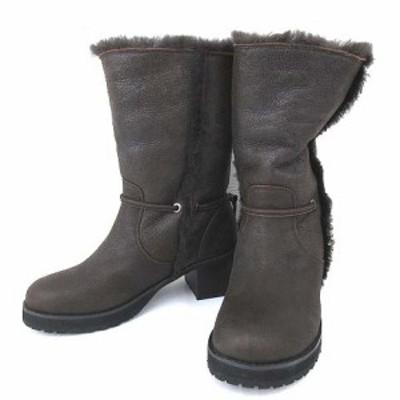 【中古】未使用品 センソユニコ t.b ムートン ブーツ ドロスト付き 2WAY ショートブーツ 羊革 23cm 茶 ブラウン