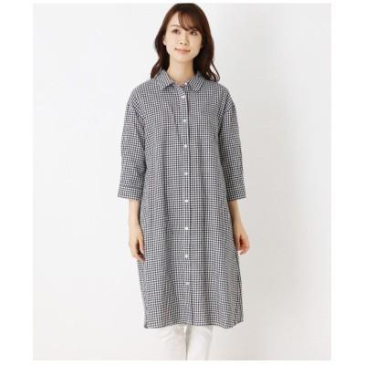 綿ロングシャツワンピース