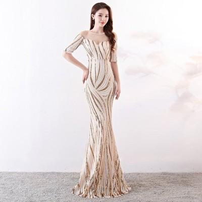 パーティードレスイブニングドレス可愛い安いナイトクラブカラードレスホステスキャバマーメイド花嫁