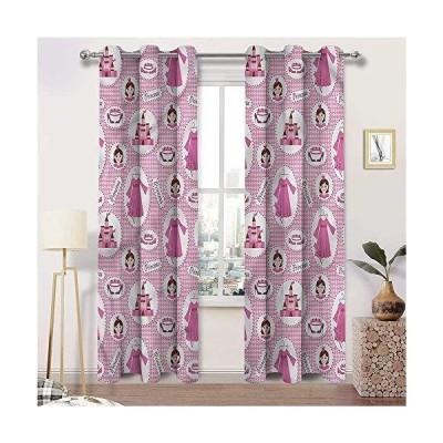 【並行輸入品】Interestlee Nursery Curtains, Princess Print Grommet Window Drapes, Girl Tiara Castle Dress Set of 2 Panels, 108 Width