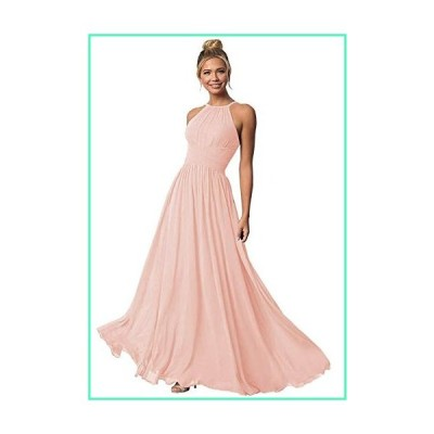 Clothfun Women's Halter Bridesmaid Dresses Long Chiffon Formal Dresses for Women Wedding Party Blush 6並行輸入品