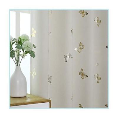 新品Jubilantex Butterfly 85% Blackout Kids Patterned Bedroom Curtains 2 Panels 84 Inch Beige Gold Print Cream Thermal Insulated Grommet Wi