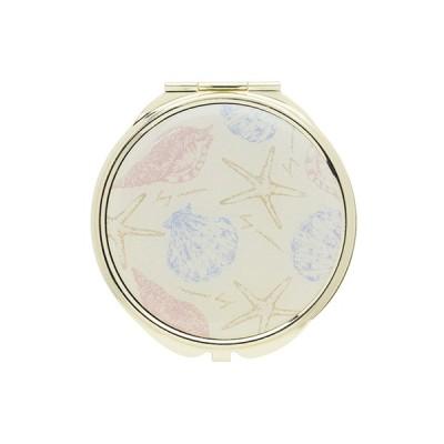 手鏡 ミラー 拡大鏡 キラキラ プレゼント コンパクトミラー ビーチシェルパターン GMR0094-WH ホワイト 雑貨 おしゃれ かわいい
