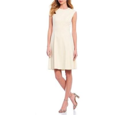 アントニオ メラーニ レディース ワンピース トップス Olivia Cap Sleeve Crosshatch Suiting A-Line Dress
