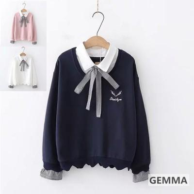 シャツ パーカー レディース 可愛い 少女 トップス 長袖 重ね着風 リボンシャツ おしゃれ カジュアル 秋 文芸 学生 日常 出かけ 学園風