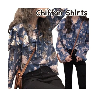 シャツ トップス 花柄 シフォン フリル きれいめ かわいい ヴィンテージ ブルー フリーサイズ
