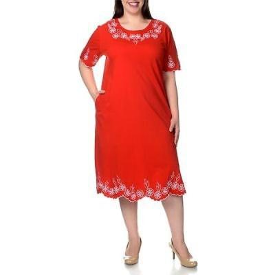 ラセラ La Cera レディース Plus Size Short Sleeve Embroidered Dress