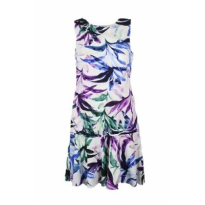 American  ファッション ドレス American living white purple floral print blue dress crepe