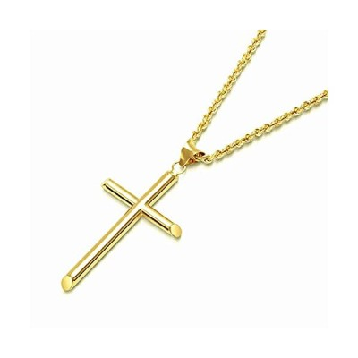FZTN Jewelry Simple Gold Cross Pendant Necklace for Men 2mm Stainess Steel