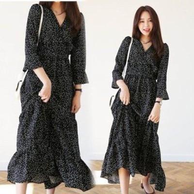 韓国のファッション ドットパターンマキシ丈ラップワンピース