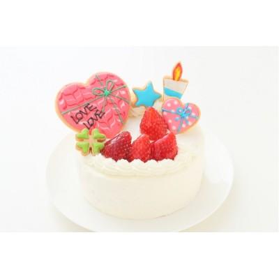 Lovelyアイシングクッキーケーキ 純生クリーム苺デコ 4号 12cm (お得なアイシングセットです) *アイシングデコ当日配送商品始まりました! ギフトに最適