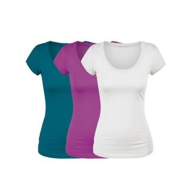 レディース 衣類 トップス Emmalise Women's Short Sleeve Tshirt Scoop Neck Tee Value Set (3Pk Wht Deep Jungle Magenta Small) Tシャツ