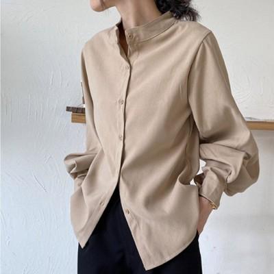 メゾンドラティール maison de LATIR ゆったりした袖口がレトロな雰囲気のレディースシャツ。 (ベージュ)