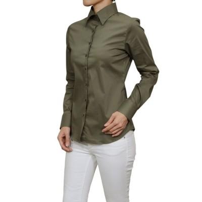 レディースシャツ ワイシャツ オフィス ブラウス ビジネス 長袖 ワイドカラー カーキ 緑 日本製 ナチュラルフィット トップス 大きいサイズ おしゃれ