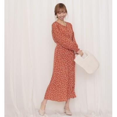 【チーク/Cheek】 花柄シフォン前開きドレス