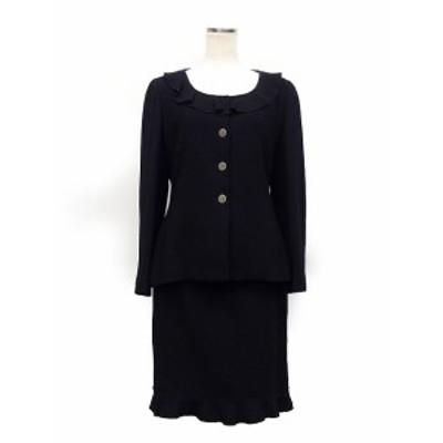 【中古】シャネル CHANEL BOUTIQUE スーツ セットアップ フォーマル フリル ジャケット スカート ウール 99年 40 ブラック /K