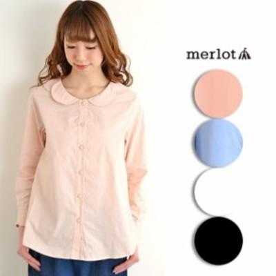 【セール特価】【merlotメルロー】フラワー襟 くるみボタン ブラウス トップス 長袖 フリーサイズ